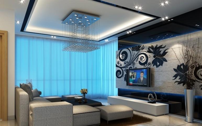 橡树林现代风格客厅电视墙效果图