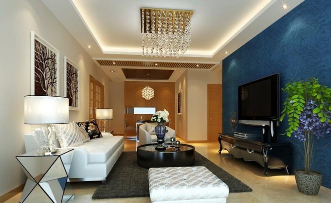 首创国际城现代客厅装修设计效果图