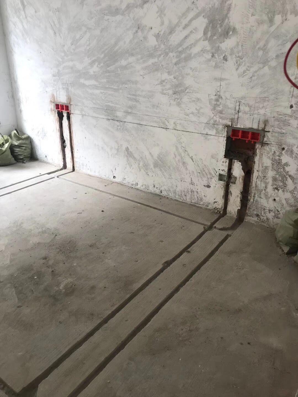 錦城花園水電改造開槽施工現場